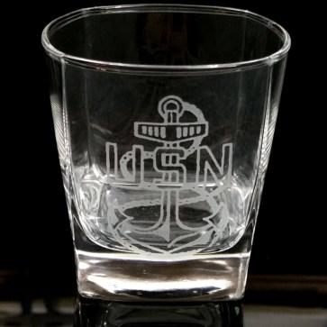 US Navy Logo Whiskey Glass