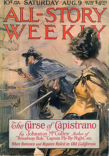 Zorro's pulp debut, The Curse of Capistrano, 1919