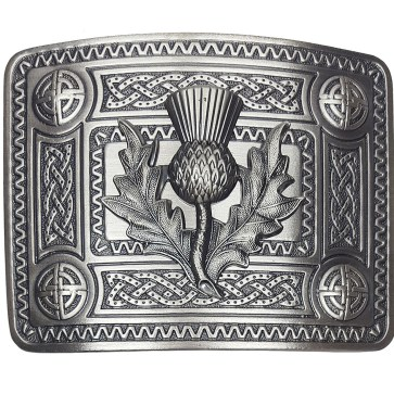 ABB-CL-1784 Celtic Knot Kilt Belt Buckle with Thistle Mount