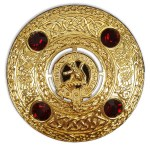 Clan Crest Plaid Brooch Gold Finish