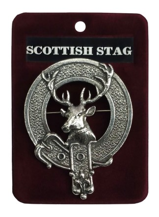 A Scottish Stag head circled by the belt and buckle of a clan badge.