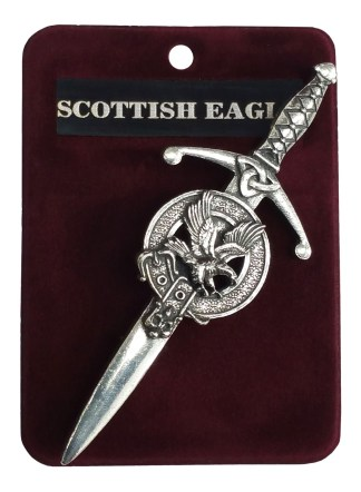 A sword shaped kilt pin with an eagle by the hilt.