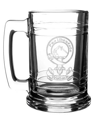 CCBM-CL-1749 - Wallace Clan Crest 16 oz Beer Mug