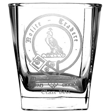 CCT05-CL-1766 Bell Clan Crest Whisky Glasses Set of 4