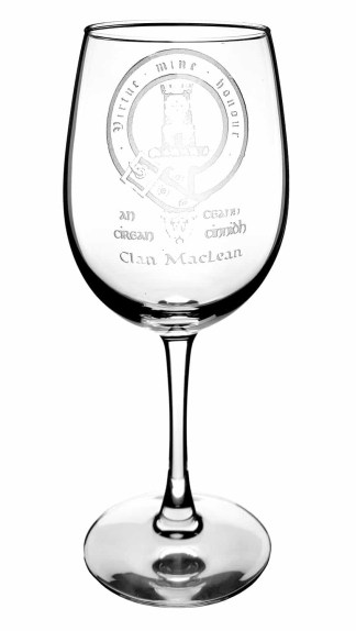 CCT08-IS-1778 MacLean Clan Crest Wine Glass