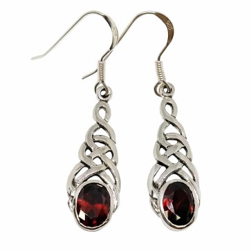 Celtic Knot Garnet Earrings