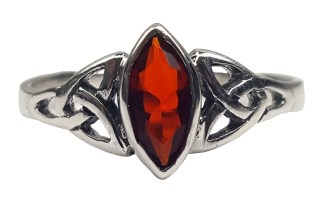 Garnet Triskel Knot Ring