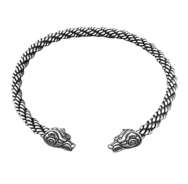 Celtic Bear Torc Heavy Braid Silver