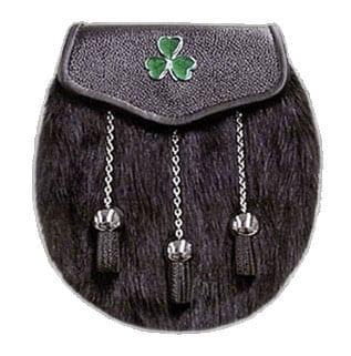 Muskrat Fur Sporran with Irish Shamrock