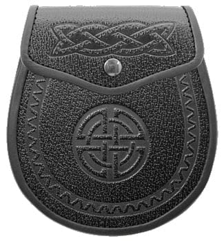 Black Leather with Celtic Embossing Sporran