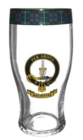 STCBG-CL-1769 MacIntyre Clan Crest Tartan Pub Glass