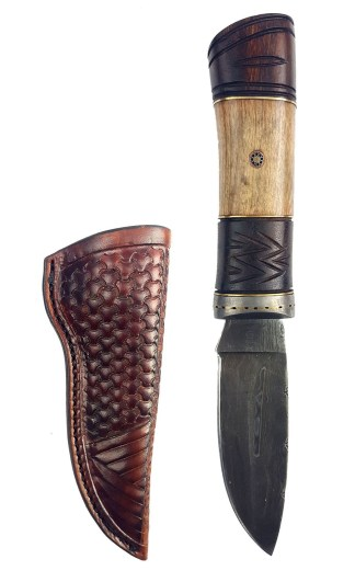 Damascus Sgian Achlais w New Fancy Leather Sheath