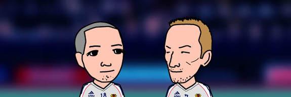 小野と中田の似顔絵画像