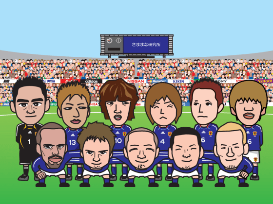 サッカー日本代表の似顔絵画像