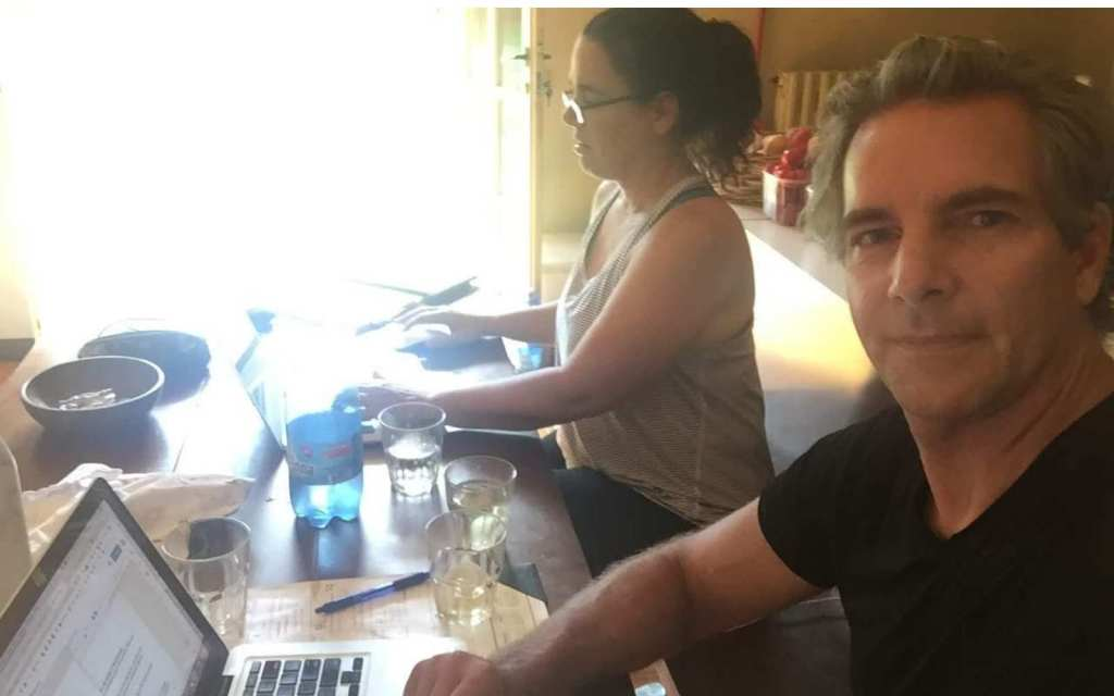 Kim and Way remote working in Baveno, Italy