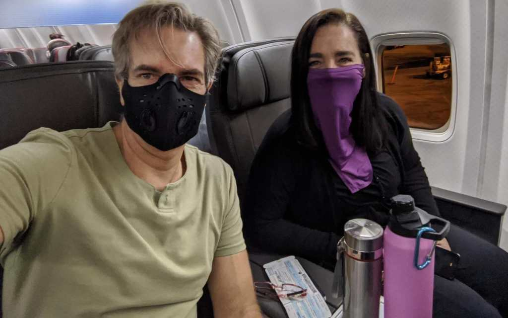 Kim and Way in First-class flying to Puerto Vallarta during COVID-19 pandemic