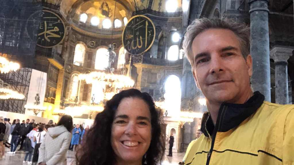 Kim and Way in Hagia Sophia, Istanbul, Turkey