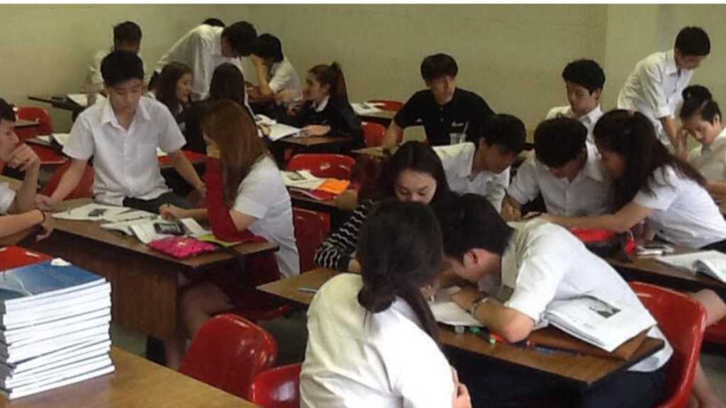 Bangkok University students working on a business project