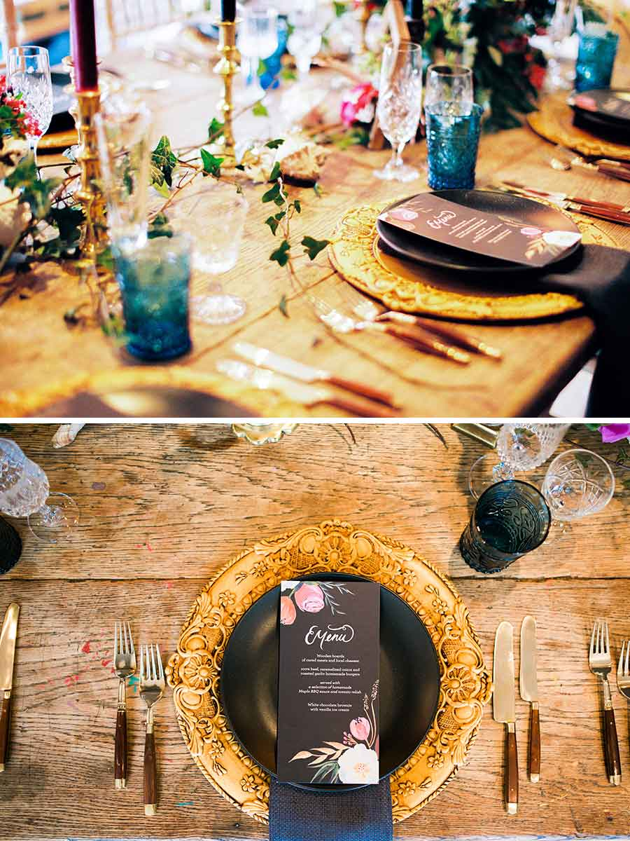 Old Masters inspired tablescape wooden table