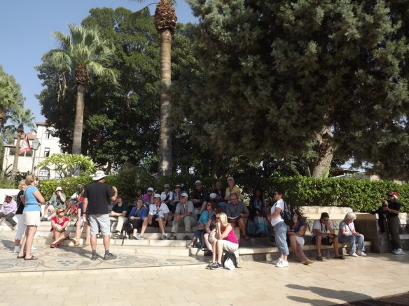 The group listening to Rafi, our tour guide
