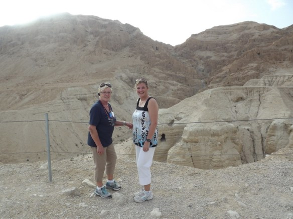 Mom and I at site of Dead Sea Scrolls discovery