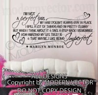 MARILYN MONROE Quote Vinyl Wall Decal I'M NOT A PERFECT ...