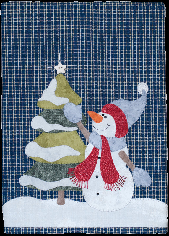 Applique Pattern Snowman Embroidery Towel Kit Quilting Hand