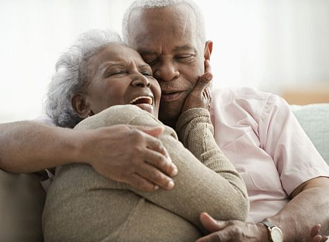 happy old african american couple