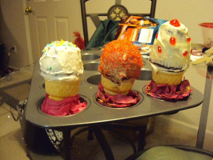 cupcakes inside ice cream cones - frosted and decorated