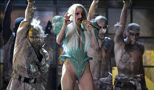 Lady Gaga high-cut green leotard