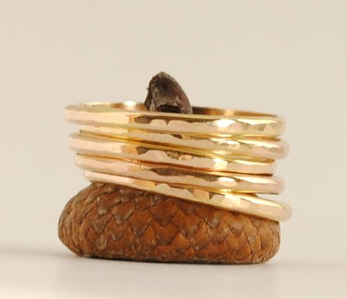 5 solid 14k gold rings stacking set etsy
