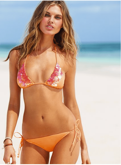 victoria's secret sunset glow pailette-embellished triangle top