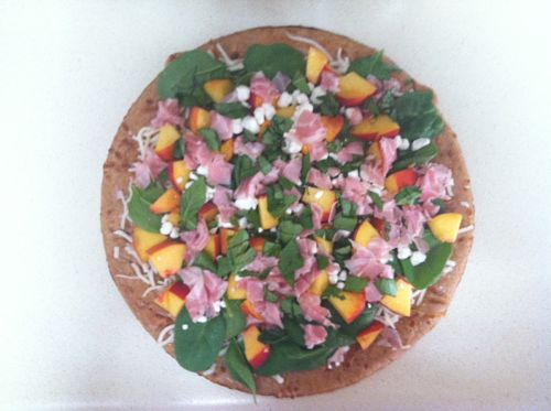 peach and pancetta pizza uncooked
