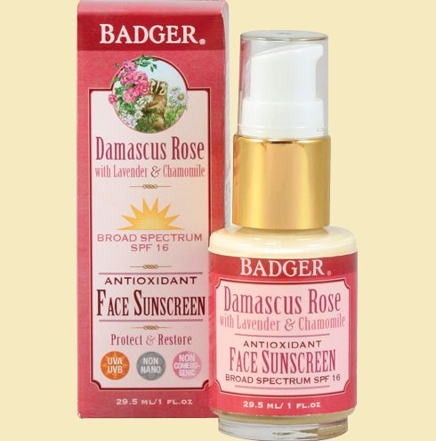 badger damascus rose spf 16 face sunscreen lotion
