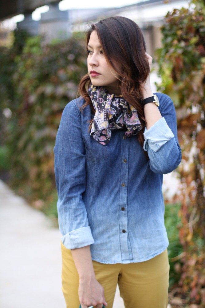 purple scarf ombre chambray shirt