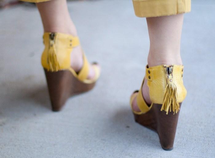 yellow steve madden tassel wedge heels