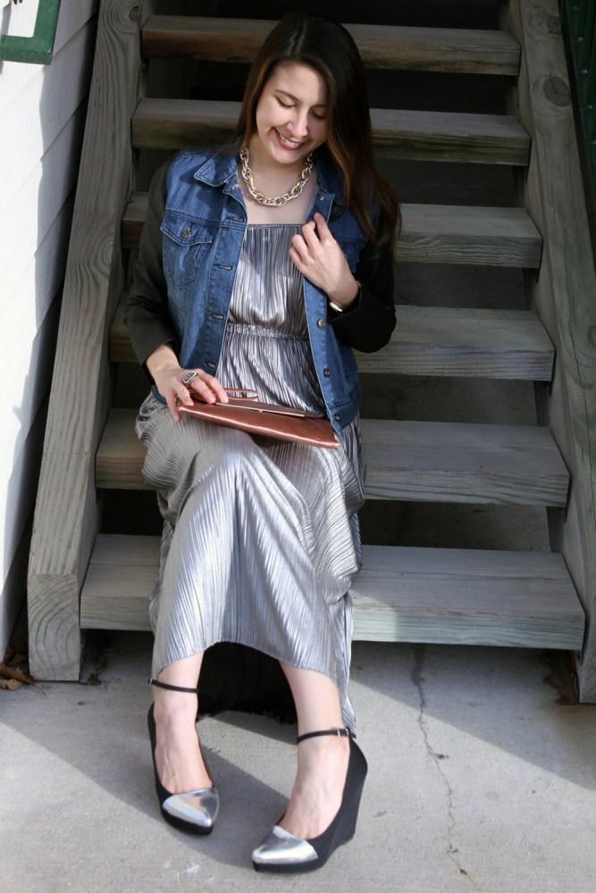 kimberlyloc silver maxi dress