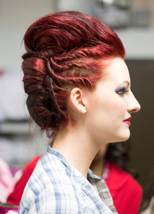kansas city fashion week backstage beauty red hair