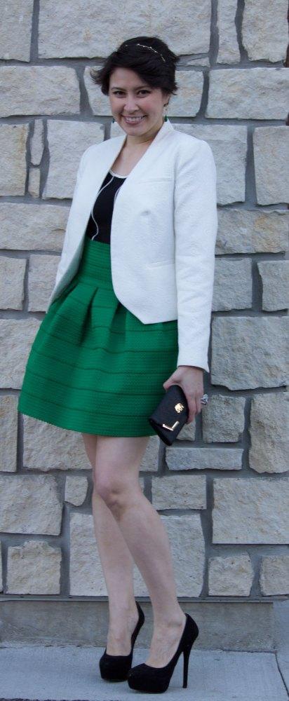 anthropologie green ponte bell skirt