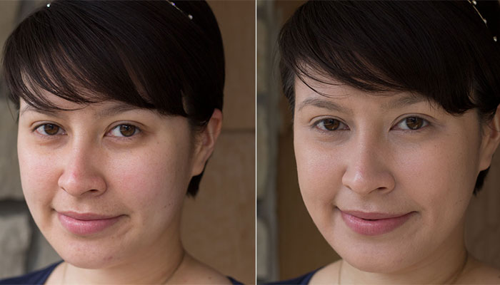 before and after: kimberlyloc without makeup and kimberlyloc wearing gabriel moisturizing liquid foundation in natural beige