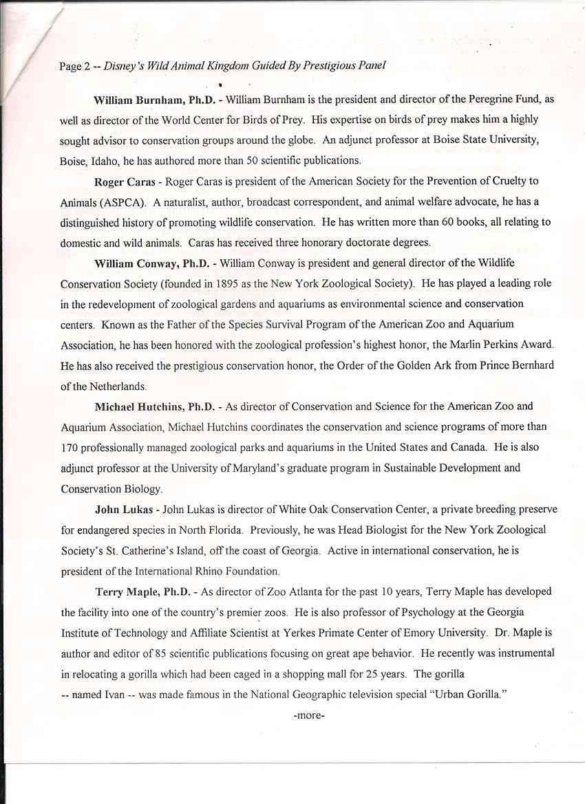 1995 Press Release Announcing Details of Disney's Wild Animal Kingdom Park