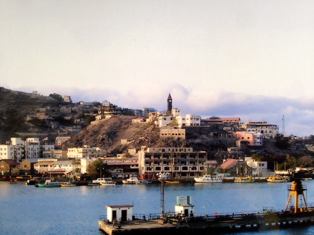 Aden from across the bay (its British influence visible in the clock tower)