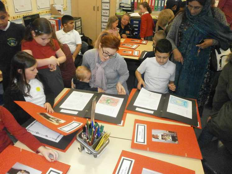 Parents and Carerswere invited in to school to look at their child's topic workat the end oflast half term.