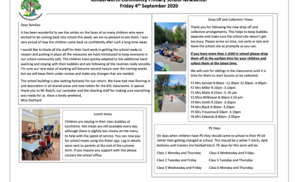 Newsletter : 4th September 2020