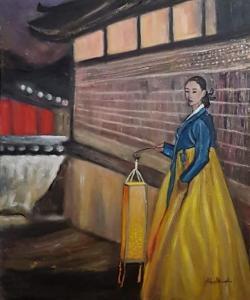 La femme à la lanterne (The woman with the lantern) – acrylique