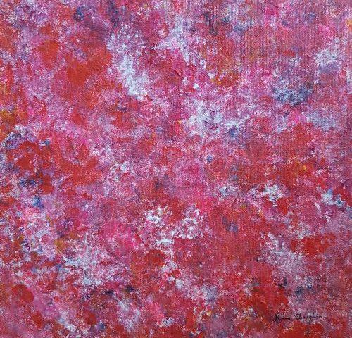 vie rose couleur acrylique médium vernis roses parsemées nature ... Life pink acrylic color medium varnish roses nature joie bonheur couleurs vives joy happiness bright colors