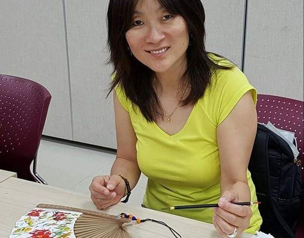 Kim dauphin éventails fans création creation water color peinture à l'eau