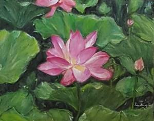 fleur lotus peinture - lotus flower painting nénuphar plan aquatique nature environnement écologique