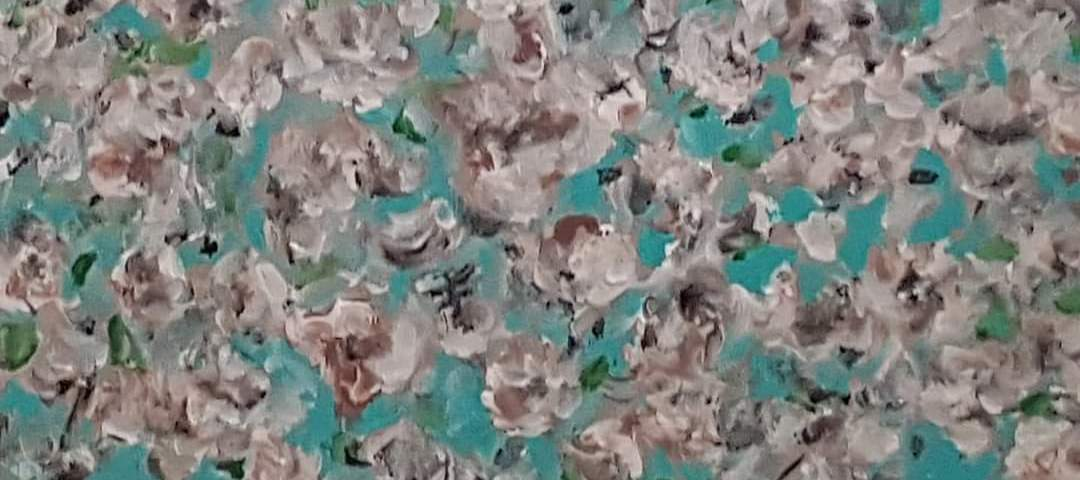 Les cerisiers en pleine éclosion - acrylique, 30x25 cm (2020)