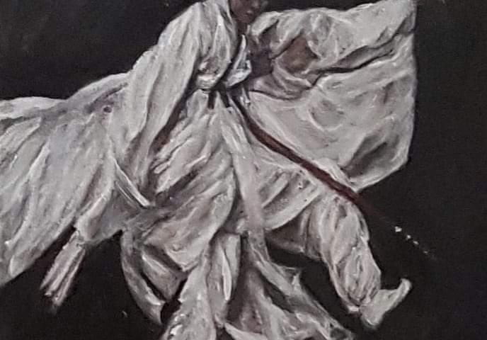 L'homme dans son élan ... - acrylique, 25X30 cm (2020)